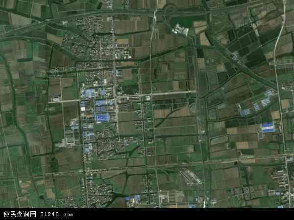 中国江苏省泰州市海陵区罡杨镇地图(卫星地图)