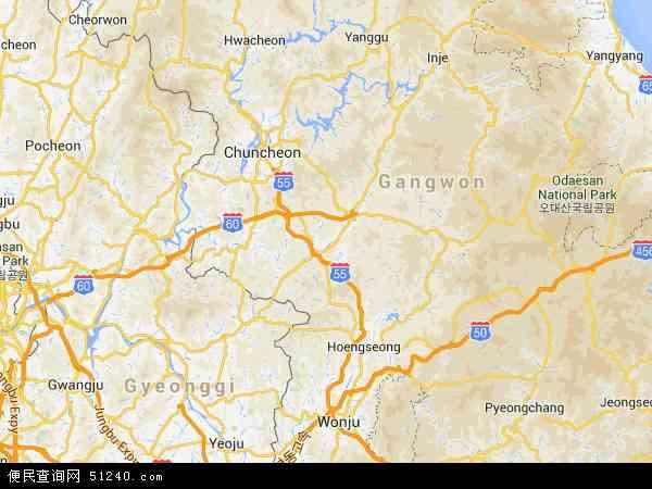 洪川郡地图- 洪川郡卫星地图- 洪...