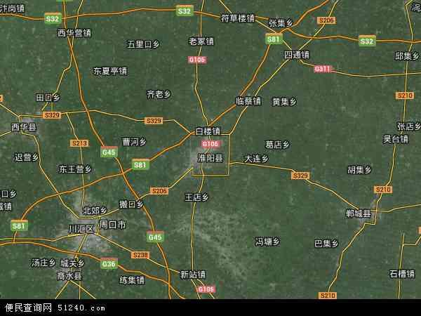 中国河南省周口市淮阳县地图(卫星地图)