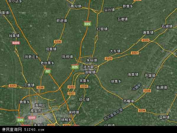 中国江苏省淮安市涟水县地图(卫星地图)