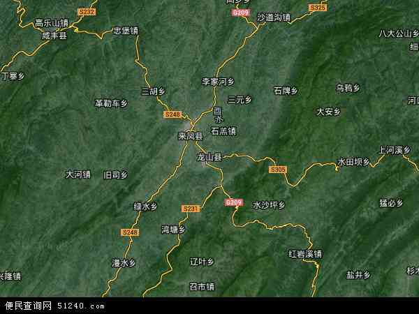 龙山县地图 - 龙山县卫星地图