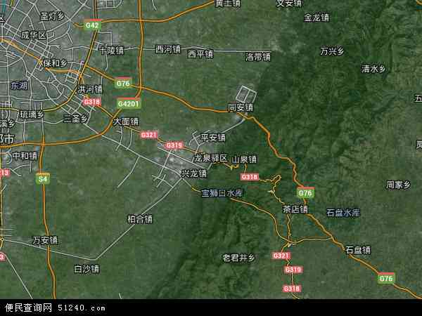 龙泉驿区地图 - 龙泉驿区卫星地图