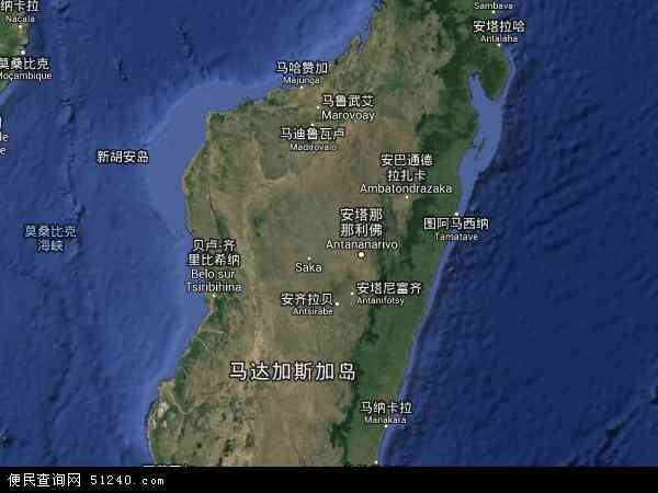 马达加斯加卫星地图