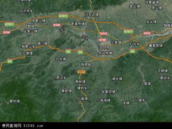 中国陕西省汉中市南郑县地图(卫星地图)