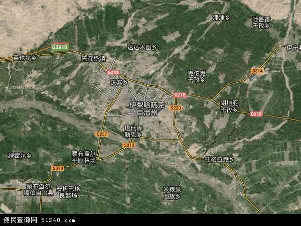 中国新疆维吾尔自治区伊犁哈萨克自治州伊宁市琼科瑞克地图(卫星地图)