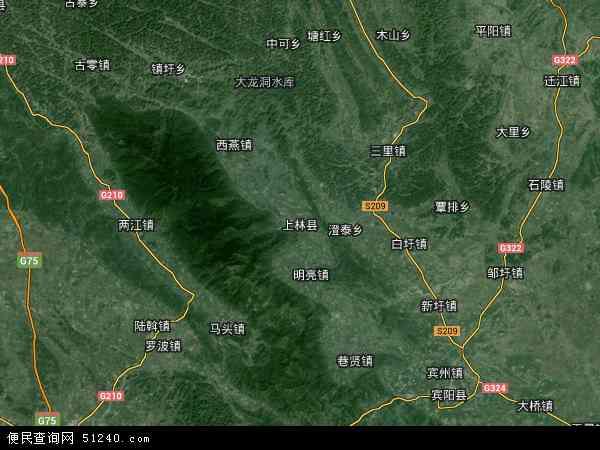 上林县2017年卫星地图 中国广西壮族自治区南宁市上林县地图