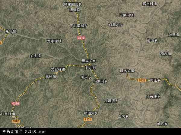 中国陕西省延安市延川县地图(卫星地图)