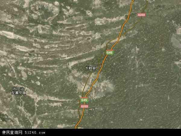 中国吉林省松原市长岭县地图 卫星地图