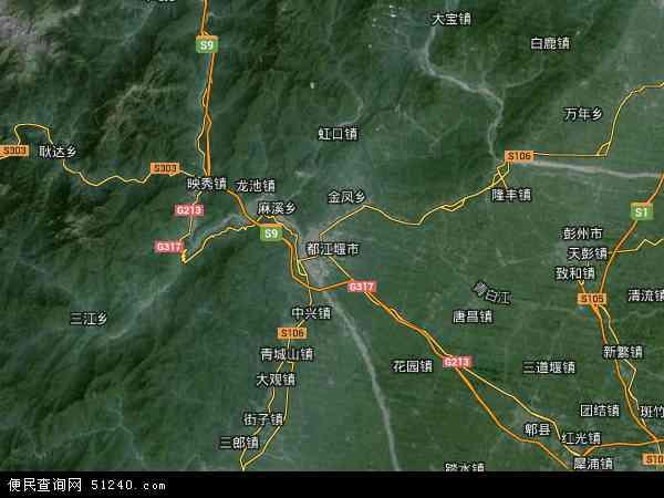 都江堰市地图 - 都江堰市卫星地图