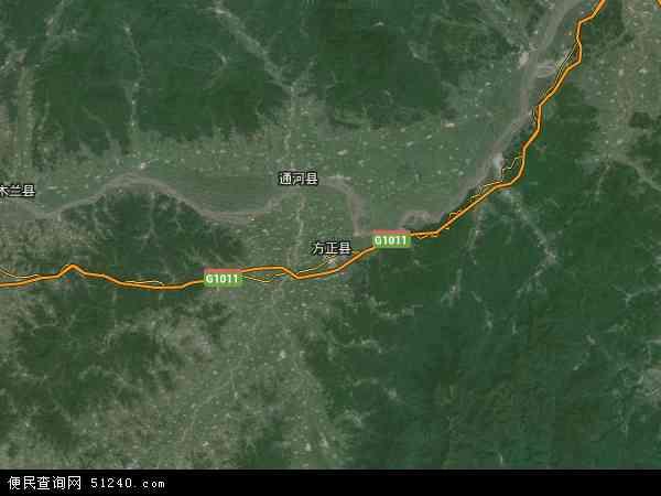 方正县地图 - 方正县卫星地图图片