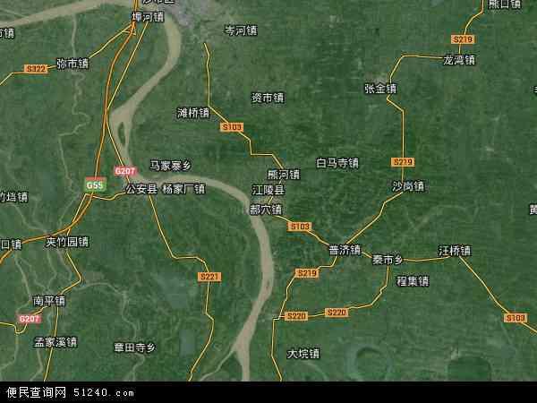 江陵县高清卫星地图 江陵县2014年卫星地图 中国湖北省荆州市江陵