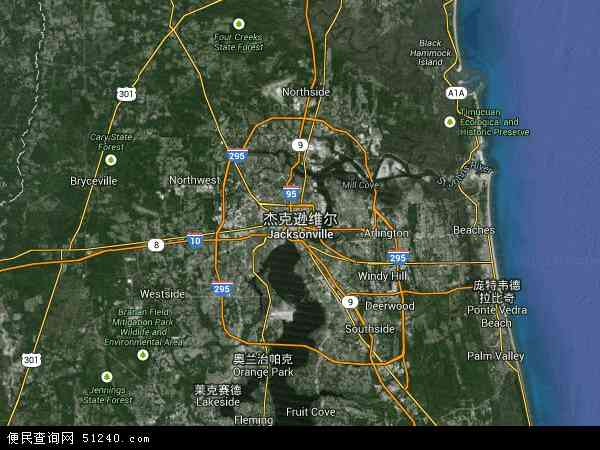 美国高清卫星地图_杰克逊维尔地图 - 杰克逊维尔卫星地图 - 杰克逊维尔高清航拍地图