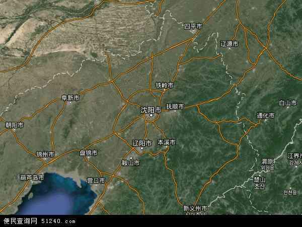 中国辽宁省地图(卫星地图)