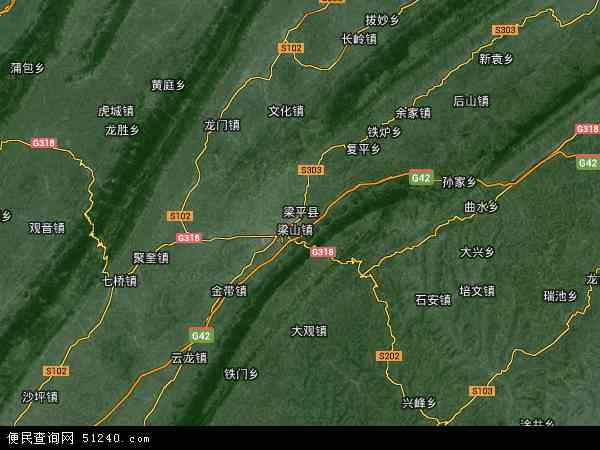 中国重庆市梁平县地图(卫星地图)