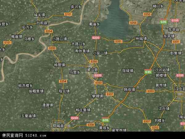 梁山县地图 - 梁山县卫星地图