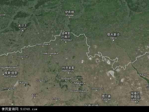 北哈萨克斯坦卫星地图