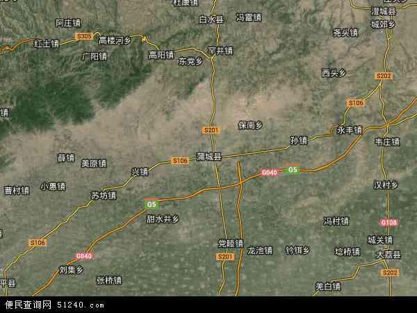 蒲城县地图 - 蒲城县卫星地图