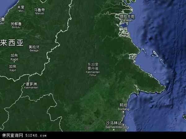 印度尼西亚东加里曼丹地图(卫星地图)