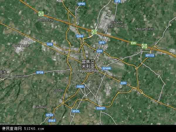 雷焦艾米利亚高清航拍地图