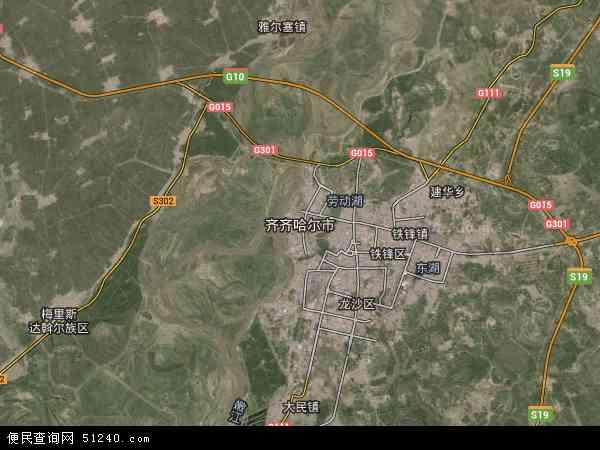 中国黑龙江省齐齐哈尔市龙江县杏山镇地图(卫星地图)