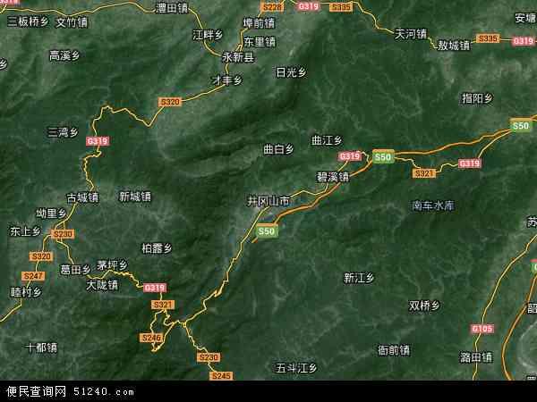 中国江西省吉安市井冈山市白石垦殖场地图(卫星地图)图片