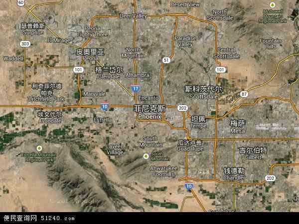 美国亚利桑那凤凰城地图(卫星地图)