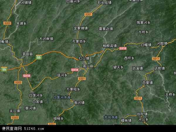 中国湖北省黄冈市英山县五峰山林场地图(卫星地图)图片
