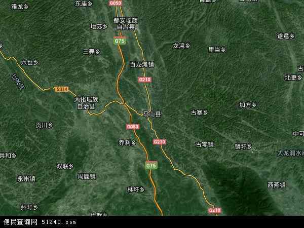 中国广西壮族自治区南宁市马山县光明山林场地图(卫星地图)