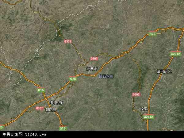 中国辽宁省朝阳市北票市大黑山特别行政地图