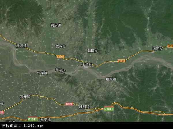 中国黑龙江省哈尔滨市木兰县兴隆林业局办事处地图(卫星地图)