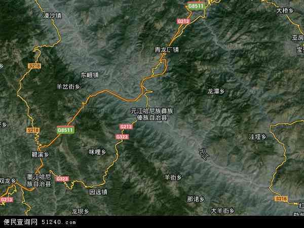 中国云南省玉溪市元江哈尼族彝族傣族自治县地图(卫星地图)图片