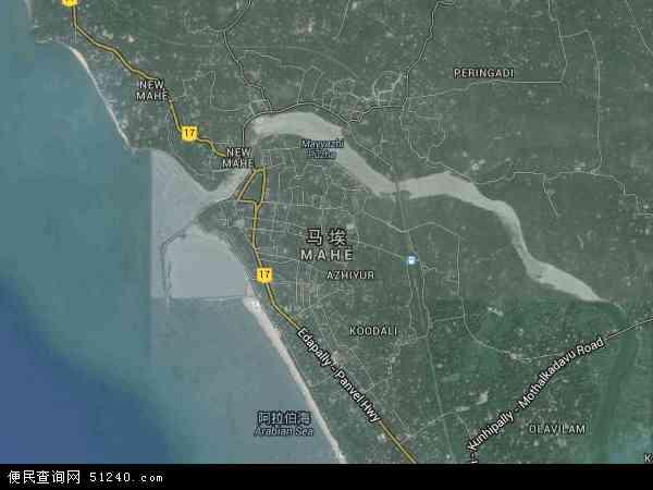 印度马埃地图(卫星地图)