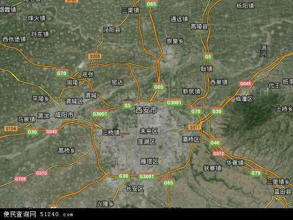 中国陕西省西安市地图(卫星地图)