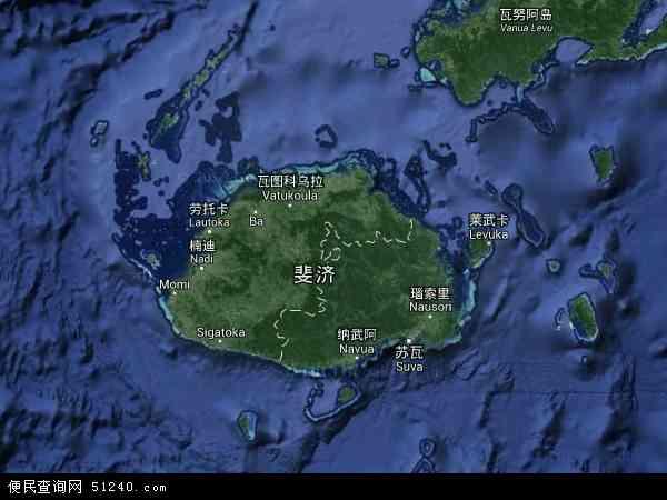 斐济地图(卫星地图)