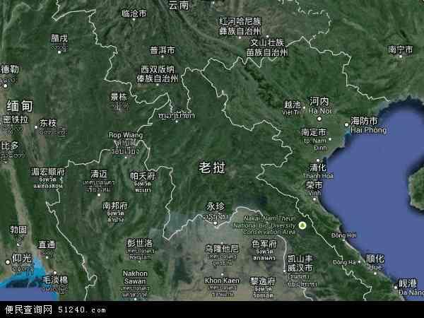 老挝地图 - 老挝卫星地图