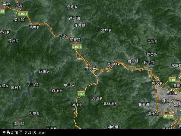 中国浙江省丽水市青田县瓯南地图(卫星地图)