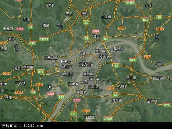 中国湖北省武汉市地图(卫星地图)图片