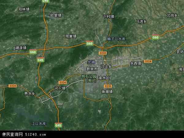中国江西省新余市地图(卫星地图)