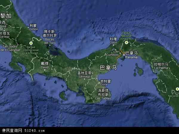 巴拿马地图(卫星地图)