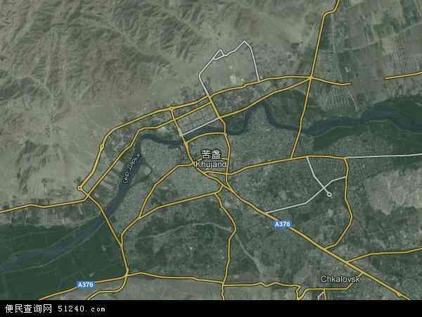 塔吉克斯坦苦盏地图(卫星地图)