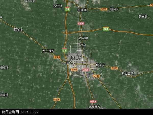 中国安徽省宿州市地图(卫星地图)