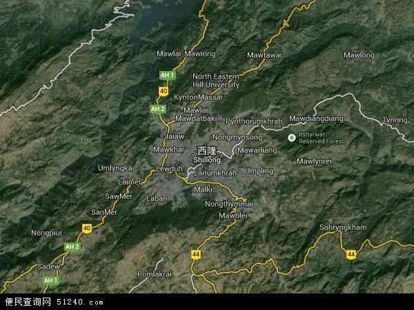 印度西隆地图(卫星地图)
