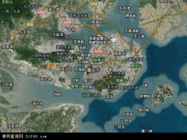 中国福建省厦门市地图(卫星地图)