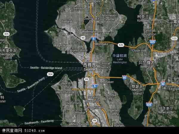 美国高清卫星地图_西雅图地图 - 西雅图卫星地图 - 西雅图高清航拍地图