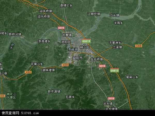 中国湖南省益阳市地图(卫星地图)