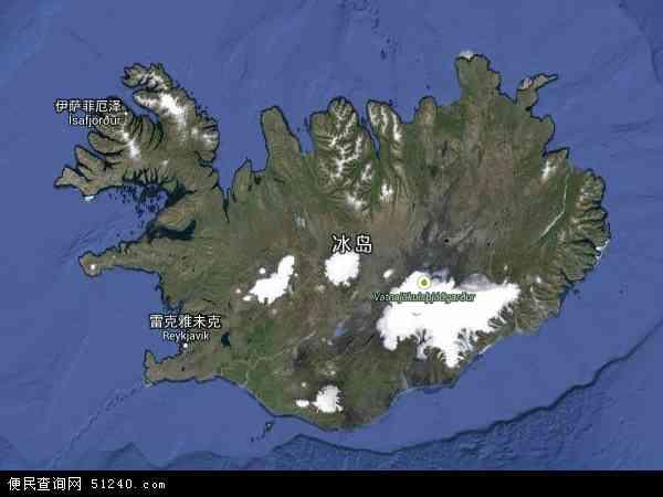 冰岛地图 - 冰岛卫星地图