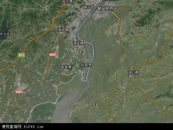 中国辽宁省丹东市地图(卫星地图)