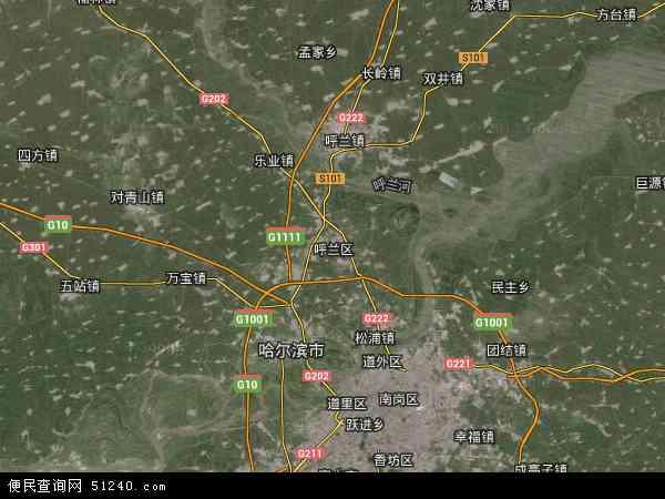 呼兰黑龙江省哈尔滨市中国区雨水(卫星地图)方沟地图现混凝土图纸浇图片