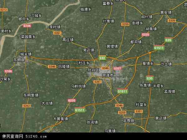 中国山东省菏泽市牡丹区地图(卫星地图)