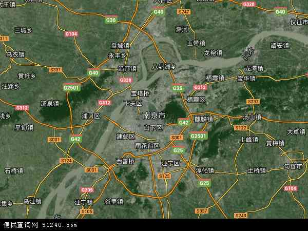 南京市高清卫星地图 南京市2016年卫星地图 中国江苏省南京市地图